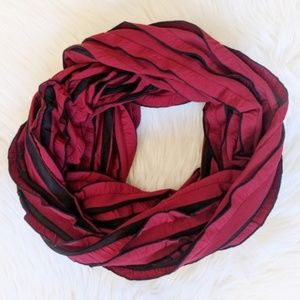 Red and black striped infinity scarf